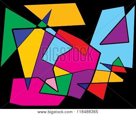 Colorful Cubism Abstract Illustration