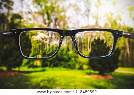 Looking through eyeglasses