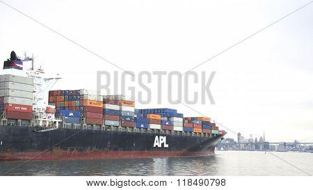 Cargo Ship Apl Florida Departing The Port Of Oakland