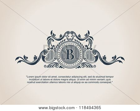 Vintage Decorative Elements Flourishes Calligraphic Ornament. Letter B. Elegant emblem template monogram luxury frame. Royal line logo. Vector sign for restaurant, boutique, heraldic, cafe, hotel