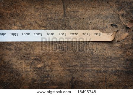 Global warming, Climate change, concept image. Rising temperature through the decades. Paper strip with timeline charred and burnt on the right end, placed on old wooden table.