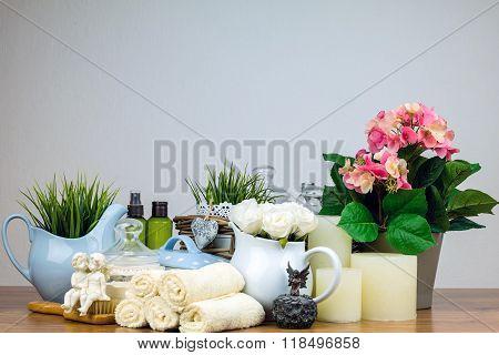 Bath accessories. Personal hygiene items. Bathroom setting.