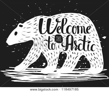 Vintage handlettering poster on the topic of tourism. The silhouette of a polar bear with a text abo