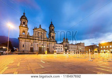 main square with church, Bolivar square in Bogota, Colombia