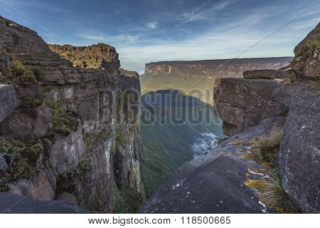 View from the Roraima tepui on Kukenan tepui at the mist - Venezuela South America poster