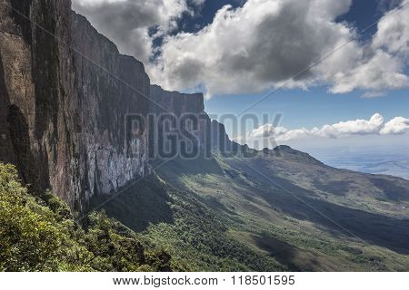 Trail Down From The Plateau Roraima Passes Under A Falls - Venezuela, South America