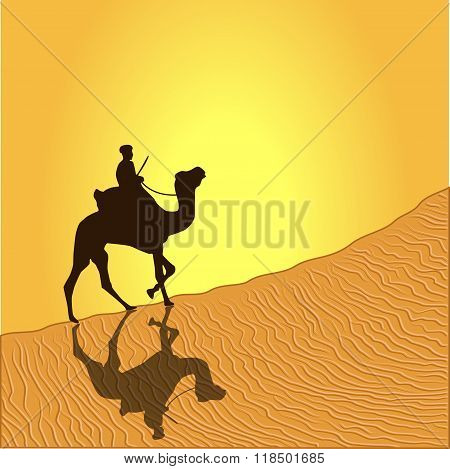 Caravan with camels in desert with dunes on background. Vector illustration poster