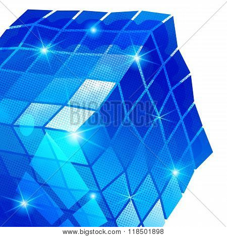 Plastic backdrop With blue Dimensional Geometric Object, Sparkling Synthetic Dotted Background