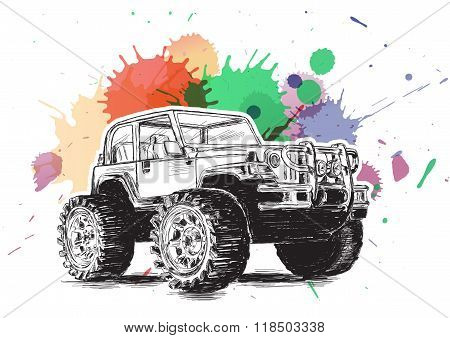 4X4 Sports Utility Vehicle Suv Grunge Vector Illustration