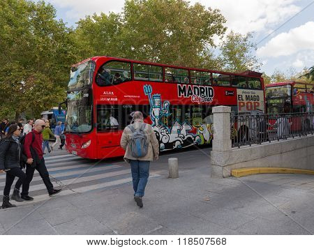 Red Double-decker Tourist Buses, Madrid