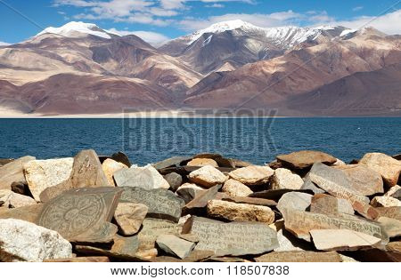 Mani Wall And Tso Moriri Lake - Rupshu Valley