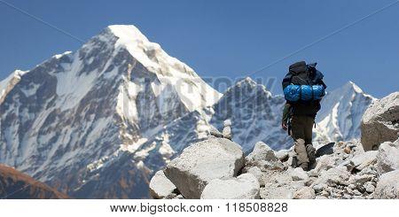 Mount Dhaulagiri With Tourist, Great Himalayan Trail