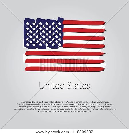 United States Flag With Colored Hand Drawn Lines In Vector Format