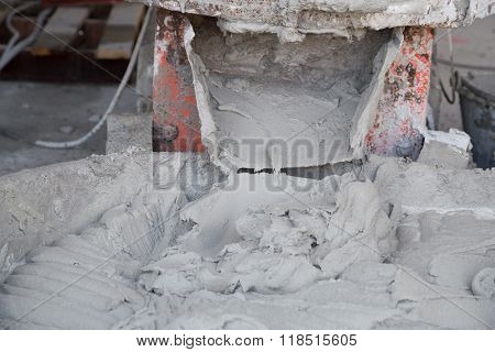 Pouring Cement Or Mortar From Cement Mixer To Salver For Construction