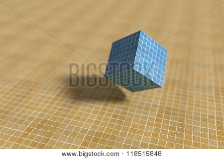 Close-up Of Blue Cube On Yellow Surface