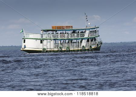 Manaus, Brazil, October 17: Typical Wooden Boats Sailing On Rio Negro In Manaus, Amazonas State. Bra