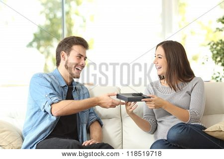 Couple Giving A Gift For Birthday