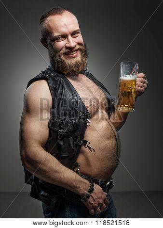 Smiling Biker With Beer Belly.