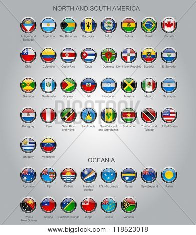 Set of round glossy flags of sovereign countries of North and South America continents and Oceania.  Contains the Clipping Path of all buttons