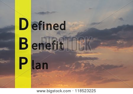 Acronym DBP as Defined Benefit Plan. The sky visible in the background.