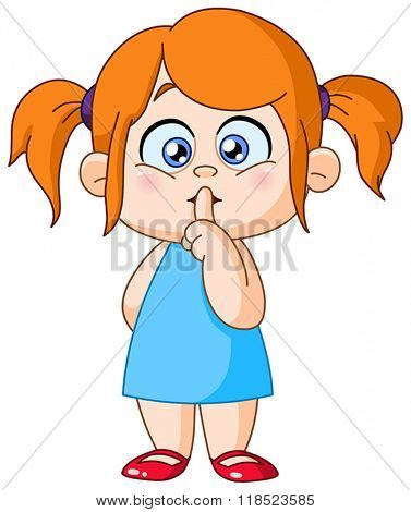 Young girl with finger on lips making the silence sign