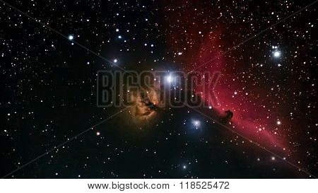 Horsehead Nebula deep space beautiful night sky The Horsehead Nebula is a dark nebula in the constel