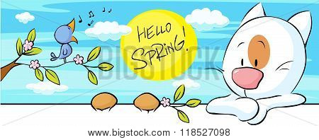 Spring Banner With Singig Bird And Cat And Flower Blossom