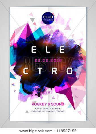 Shiny colorful abstract design decorated Flyer, Banner or Template for Electro Musical Party celebration.