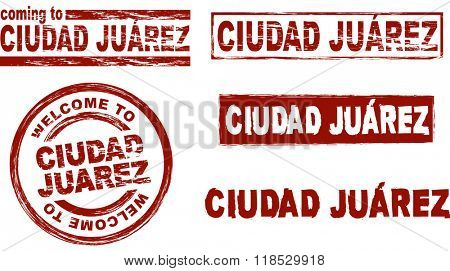 Set of stylized ink stamps showing the city of Ciudad Juarez
