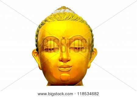golden color head of buddhism statue