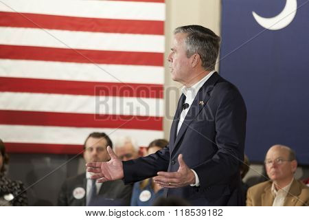 BEAUFORT, SOUTH CAROLINA-FEBRUARY 17, 2016: Presidential hopeful Jeb Bush speaks at a town hall meeting in Beaufort, South Carolina before the presidential primary