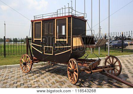 Vintage stagecoach in Tourist Complex Siberian Podvorye.