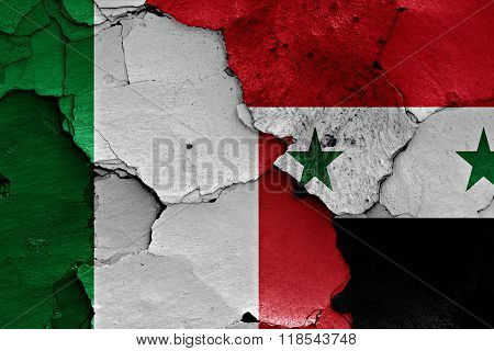 Flags Of Italy And Syria Painted On Cracked Wall