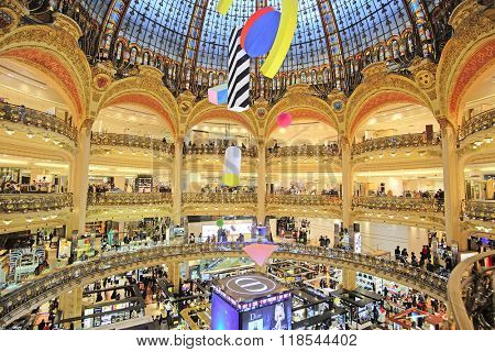 Paris, France, February 12, 2016: interior of a Gallery La Fayette in Paris, France. Gallery La Fayette is one of the biggest and oldest shops in Paris