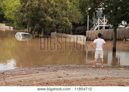 Brisbane, Australia - Jan 13 : Flood  Brisbane Auchenflower Area Queensland Declared Natural Disater