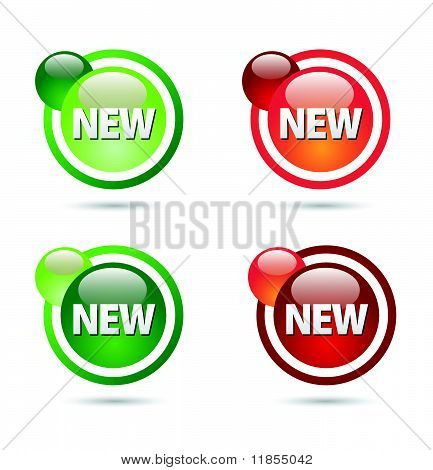 New sign label design balls green and red