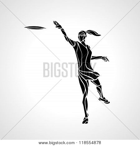 Female player is throwing flying disc