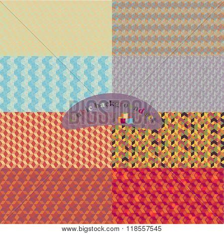 Print vector cubic backgrounds set