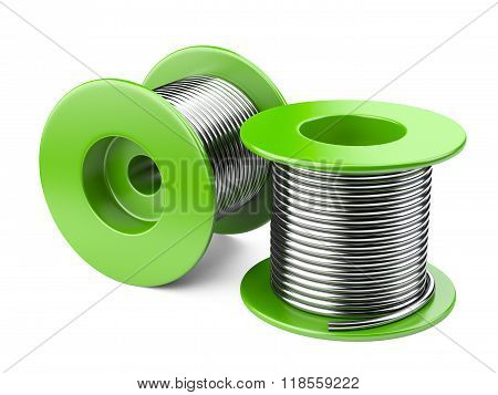 Green coils with wire. 3d illustration on a white background poster