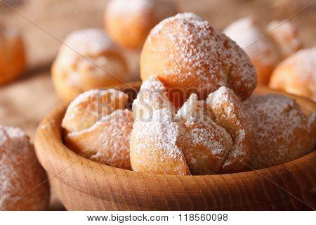 Delicious Italian Donuts Castagnole Macro In A Bowl. Horizontal