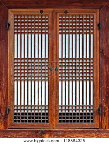 Korean Style Traditional Wooden Window With Closed Laced Shutters