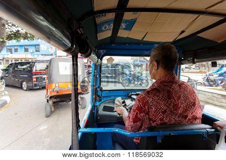 View From Vehicle Tu Tuk Jakarta
