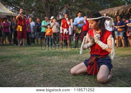 Wai Kru Ceremony on Muay Thai Festival in The Wat Phutthaisawan at Ayutthaya old city, Thailand.