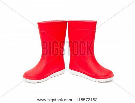 Red  Rainboots Isolated . Rubber Boots For Kids.