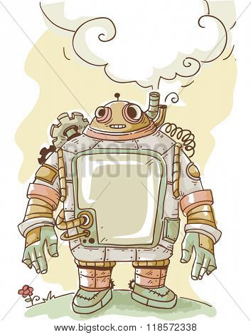 Steampunk Illustration of a Thinking Robot with a Thought Balloon Hovering Over It
