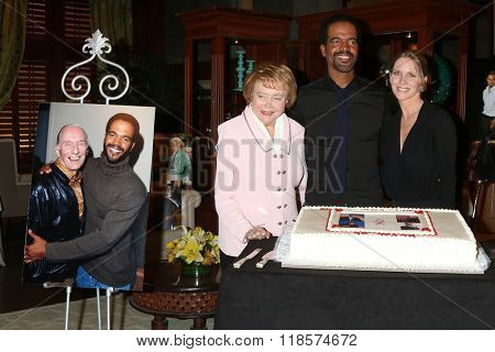 LOS ANGELES - FEB 12:  Bill Bell, Lee Bell, Kristoff St John, Lauralee Bell at the Kristoff St John celebrates 25 Years at YnR at the CBS Television City on February 12, 2016 in Los Angeles, CA