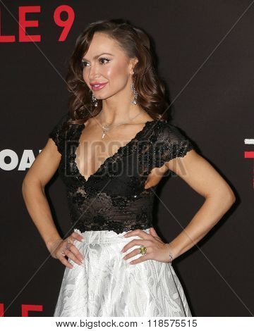 LOS ANGELES - FEB 16:  Karina Smirnoff at the Triple 9 Premiere at the Regal 14 Theaters on February 16, 2016 in Los Angeles, CA