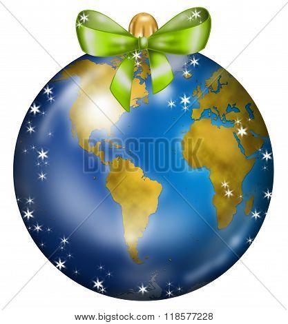 Earth Christmas ball USA and Africa