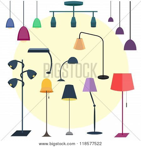 Set of colorful lamps