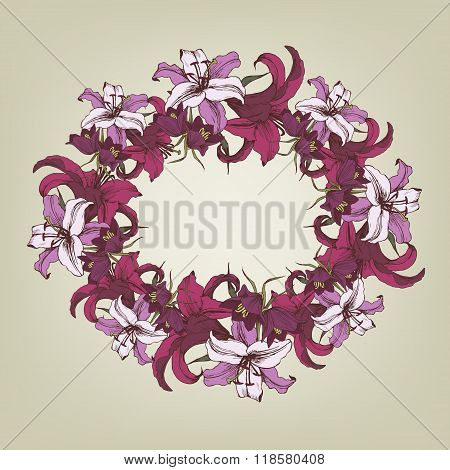 Vector round floral wreath of flowers Lilies and Fritillaria in vintage style.